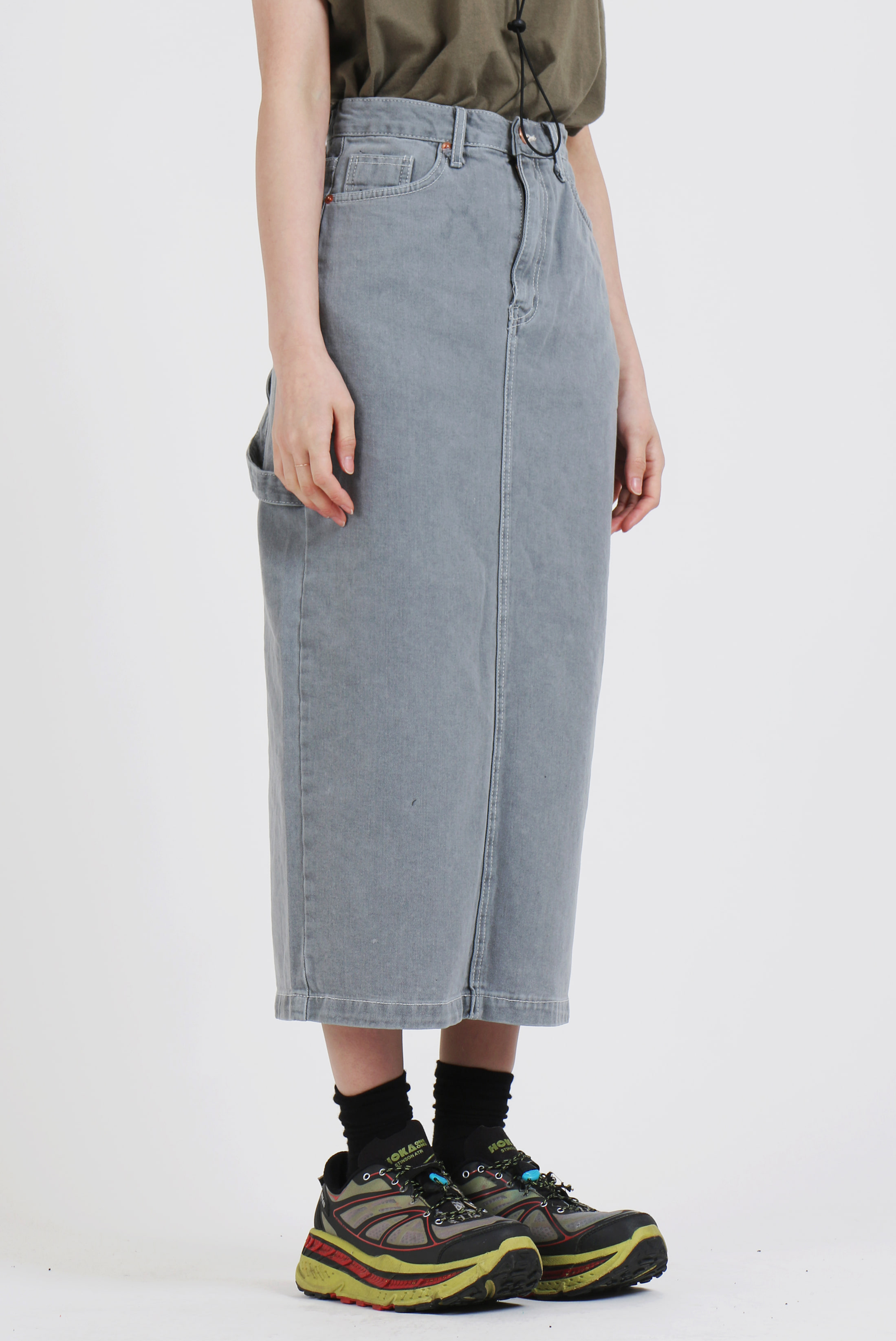 (W) Work_Denim Gray Skirt