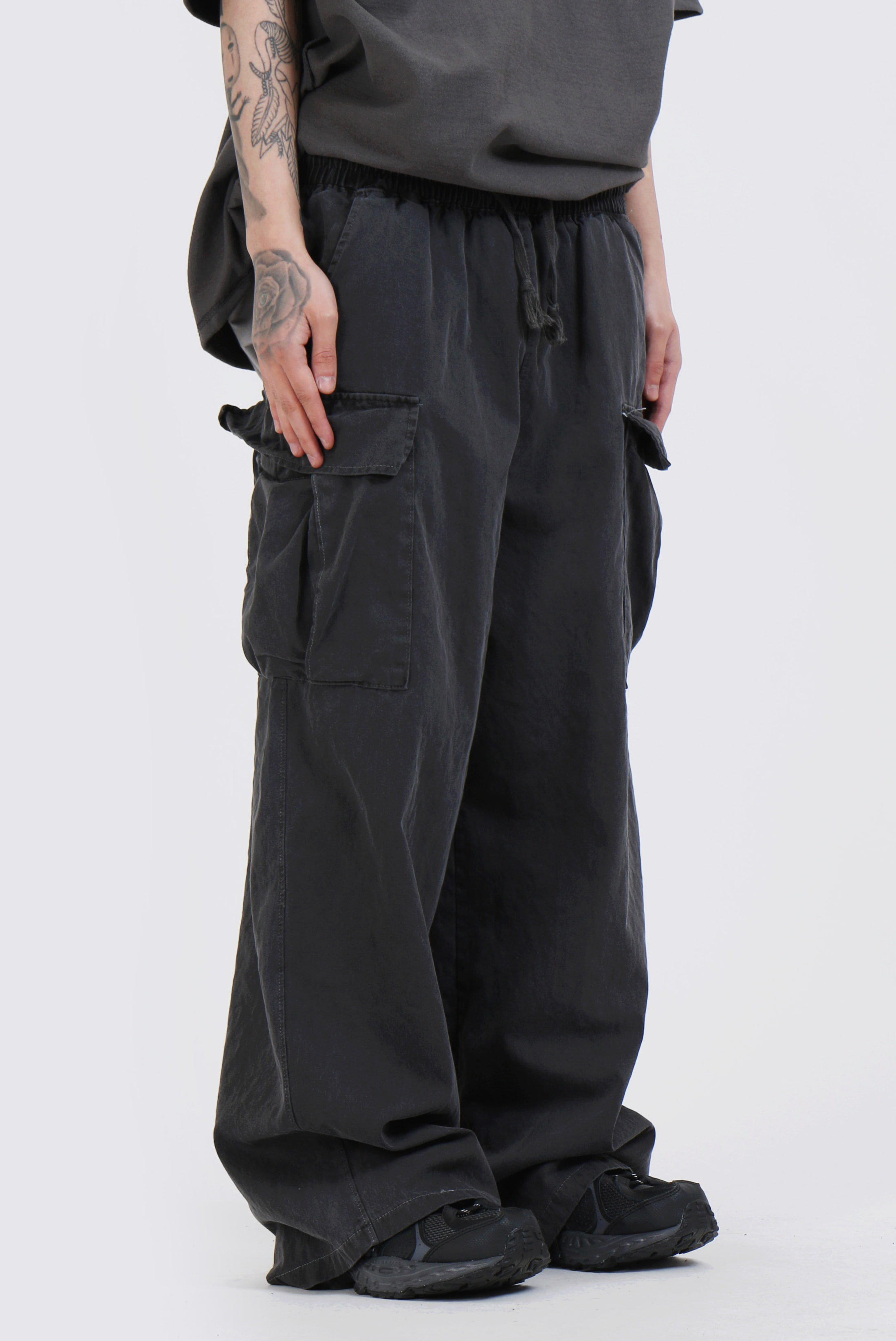 Vintage_Washing Wide Cargo Pants