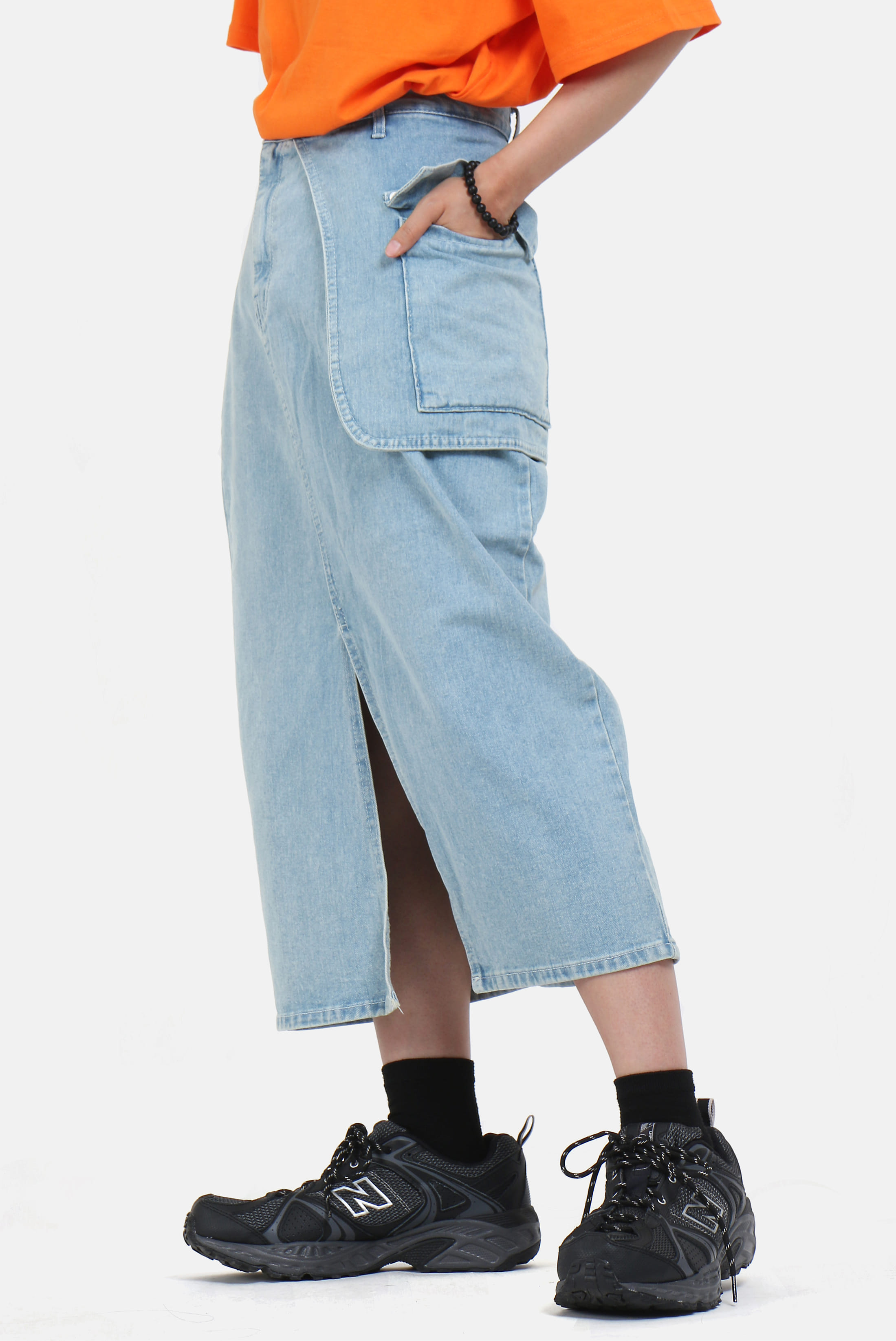 (W) Waist_Poket Long Skirt [Denim_Version]