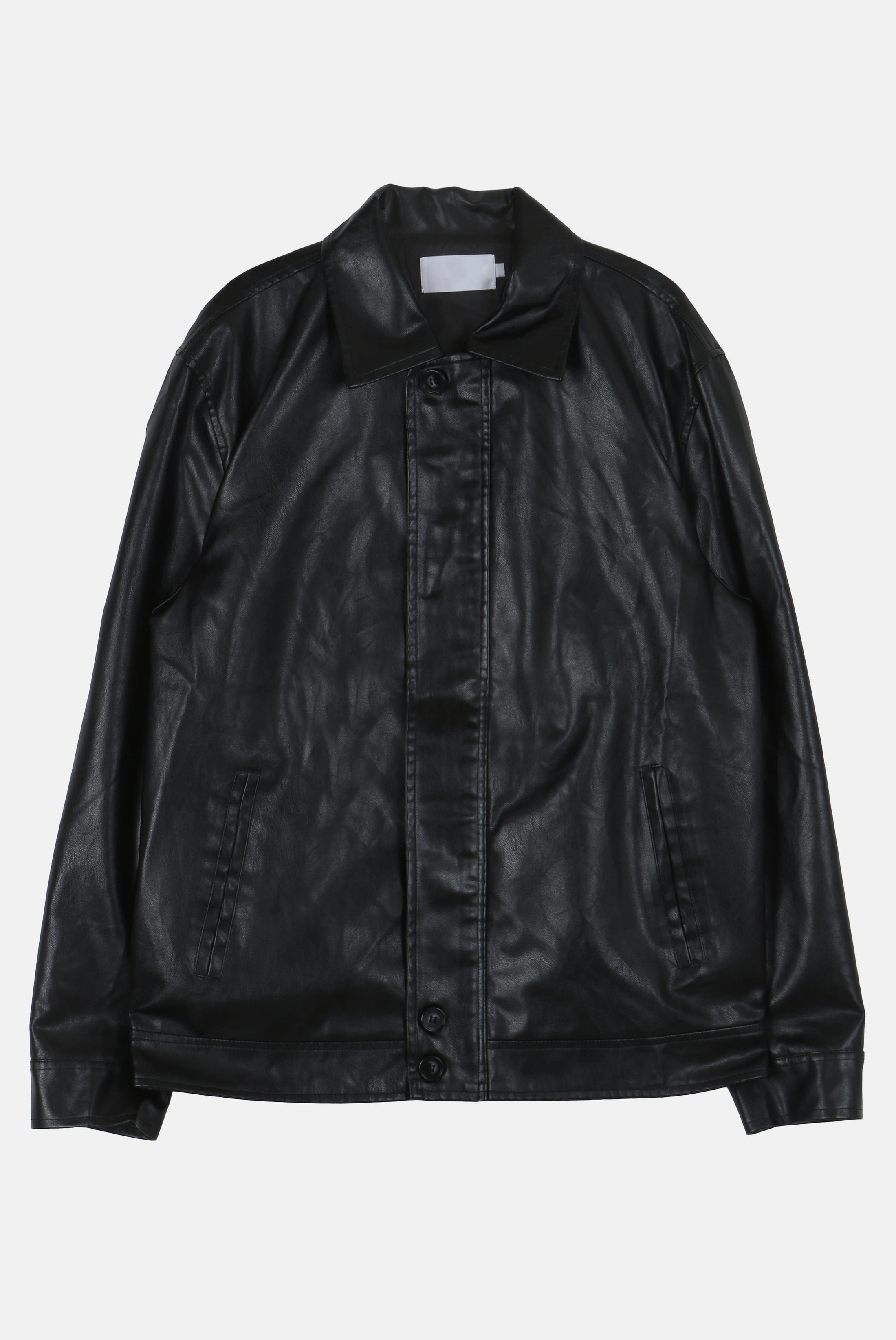 Simple_Button Leather_Jacket [SALE 20%]