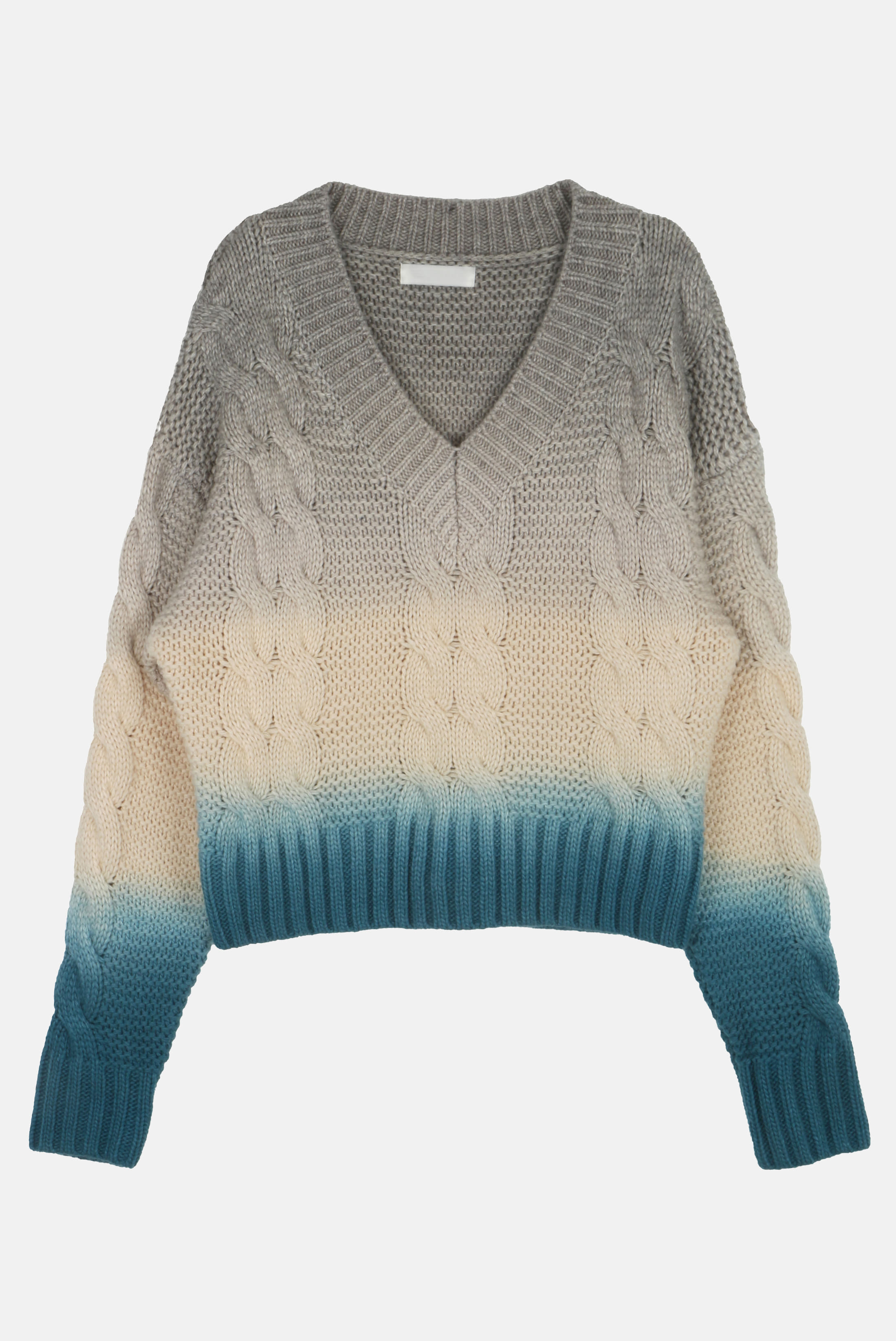 (W) Gradation V_Neck Twist Knit