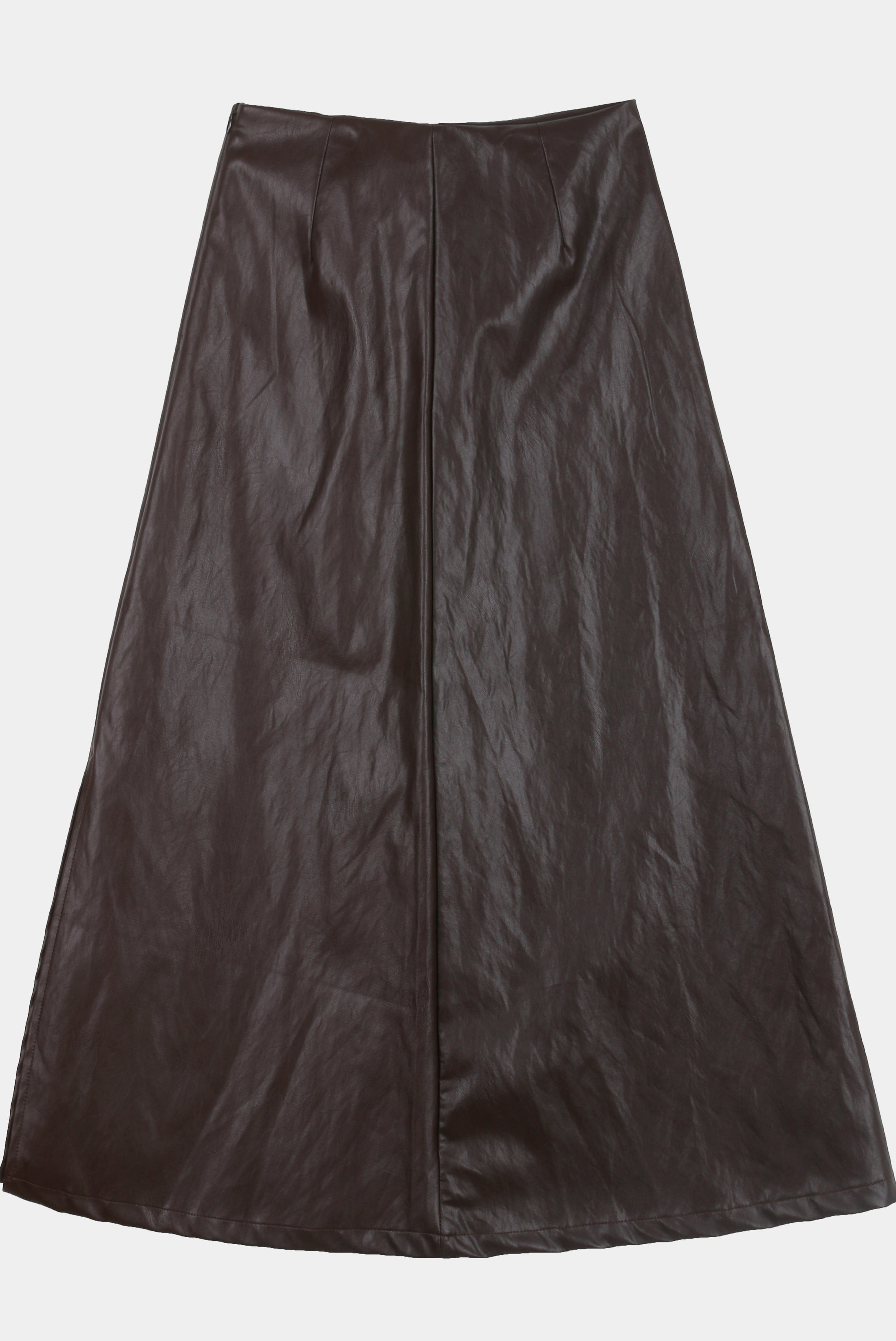 (W) Leather_Long A Skirt