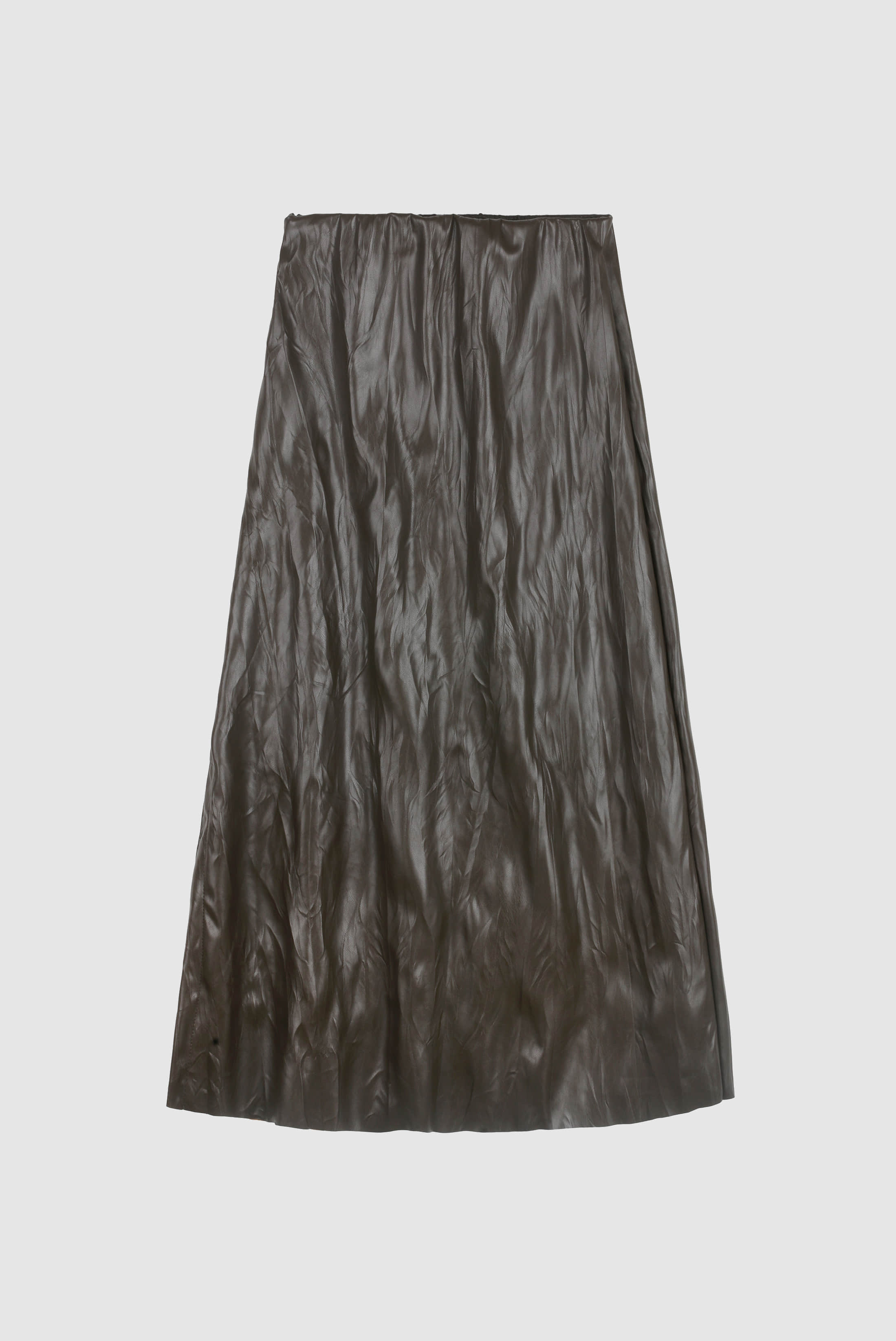 (W) Trunk_Wrinkle Leather Skirt
