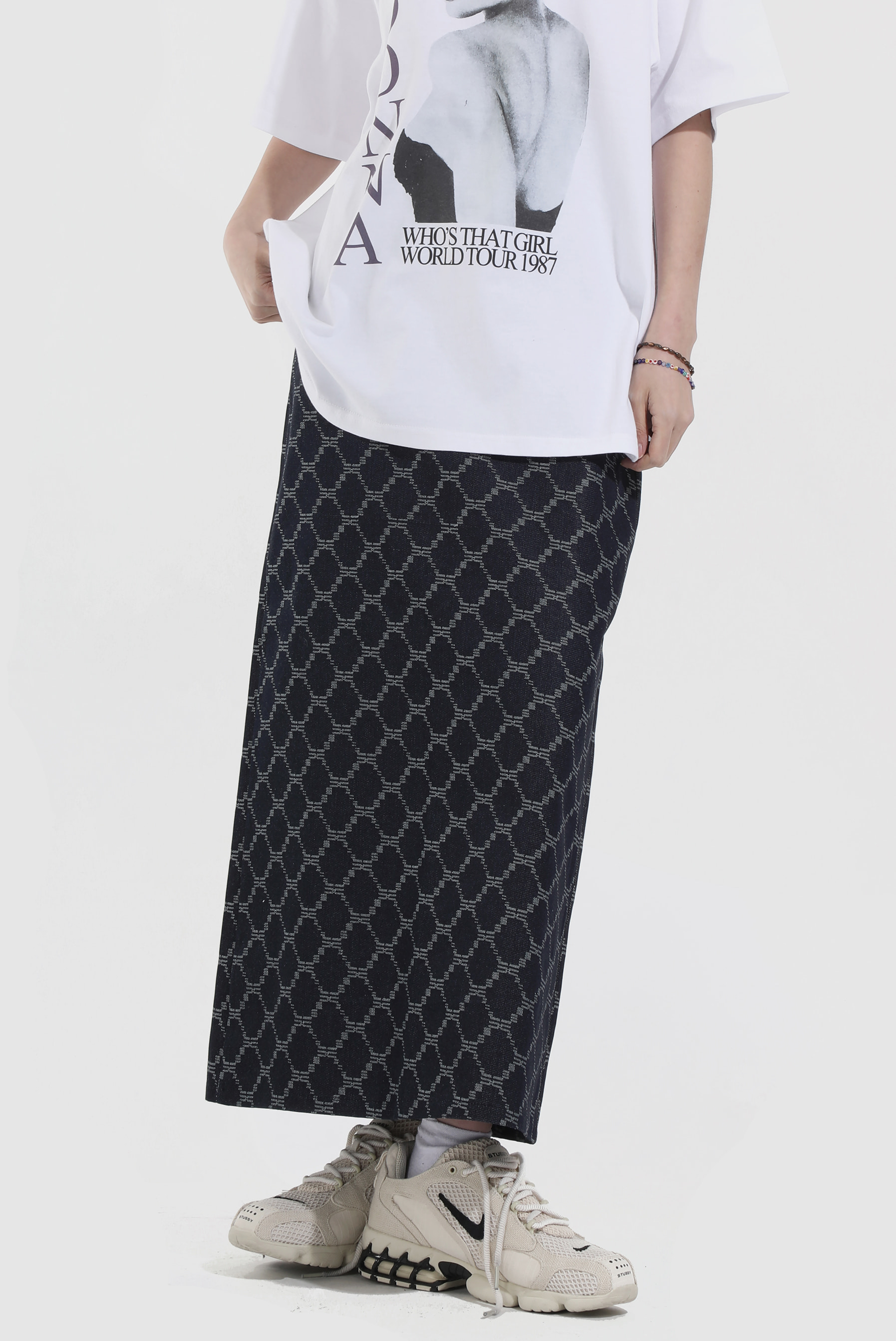 Jacquard_Denim Long zip Skirt