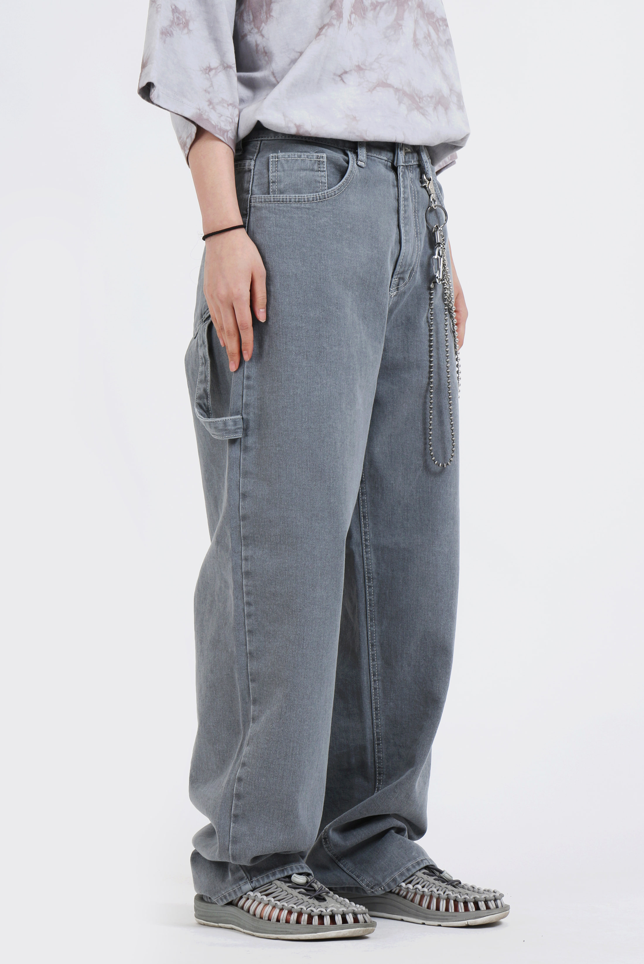 (W) Work_Denim Gray Wide_Long Pants