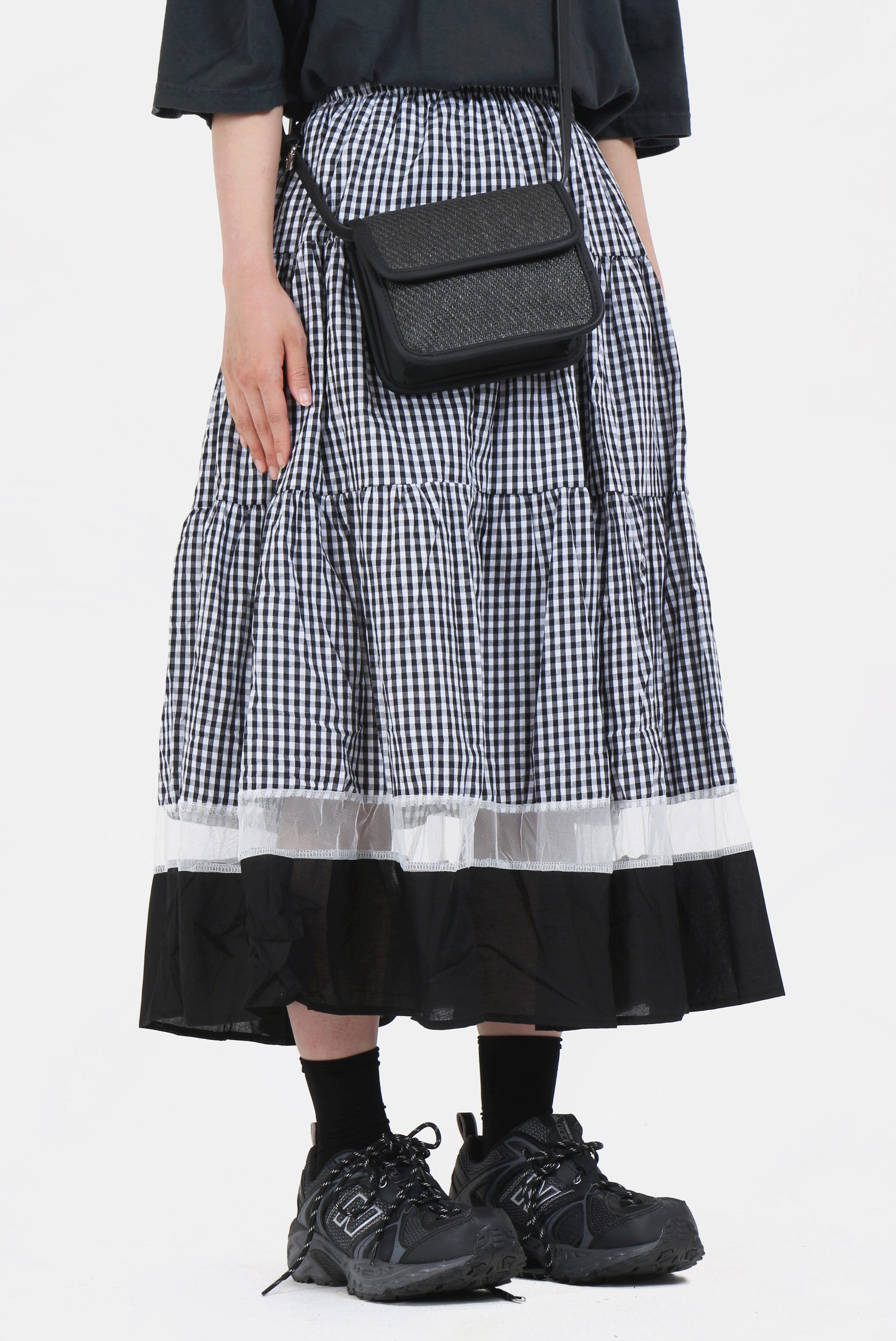 (W) Check_Mix Layered Skirt