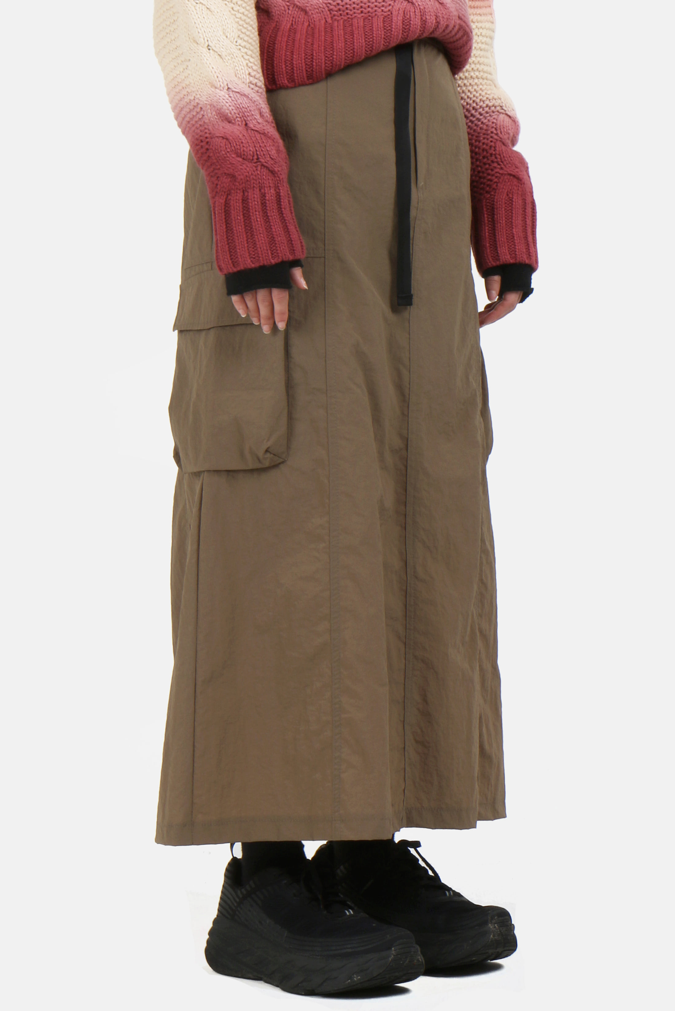 (W) Washer_Buckle Nylon Long_Skirt