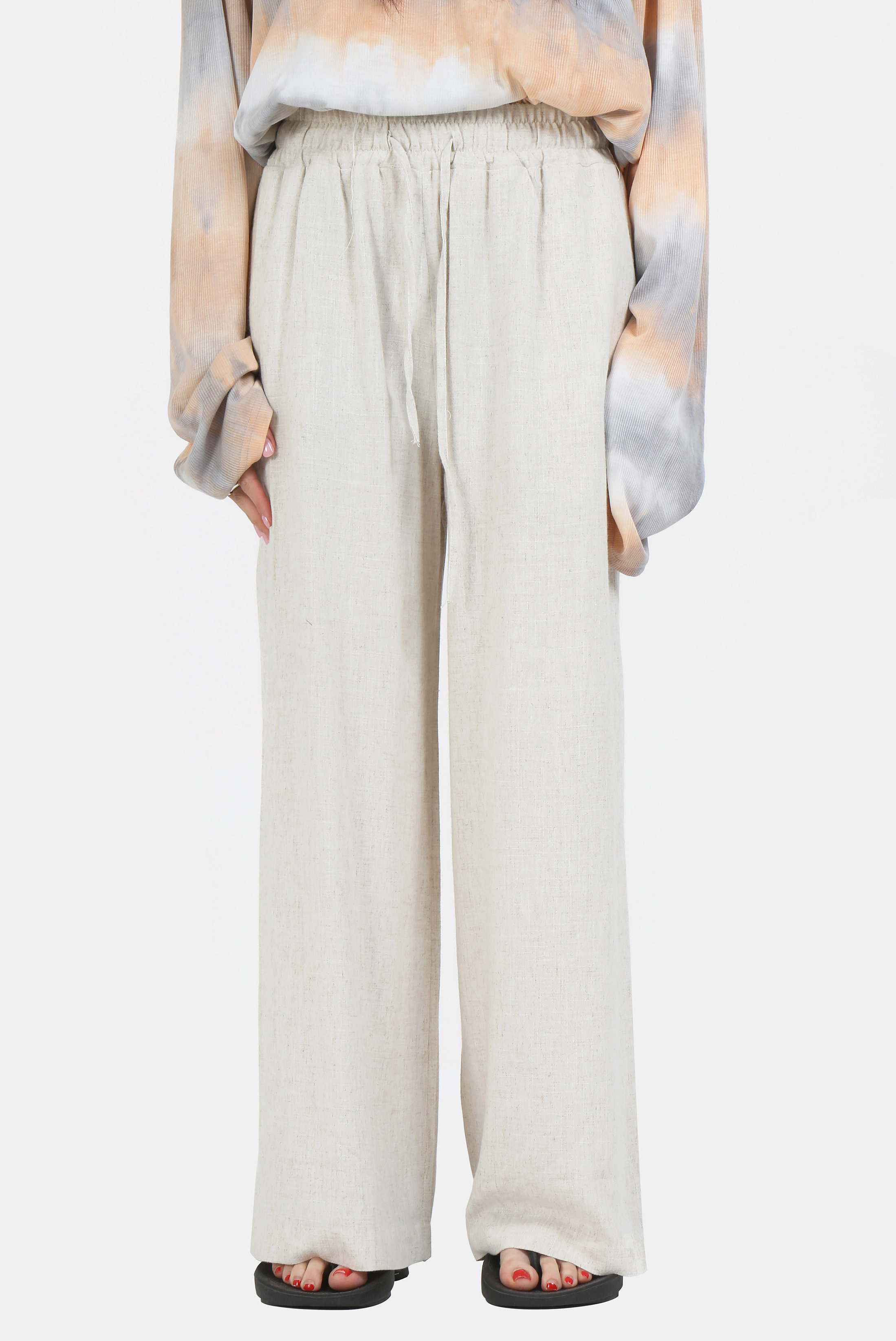(W) Linen Wide_Stright Pants
