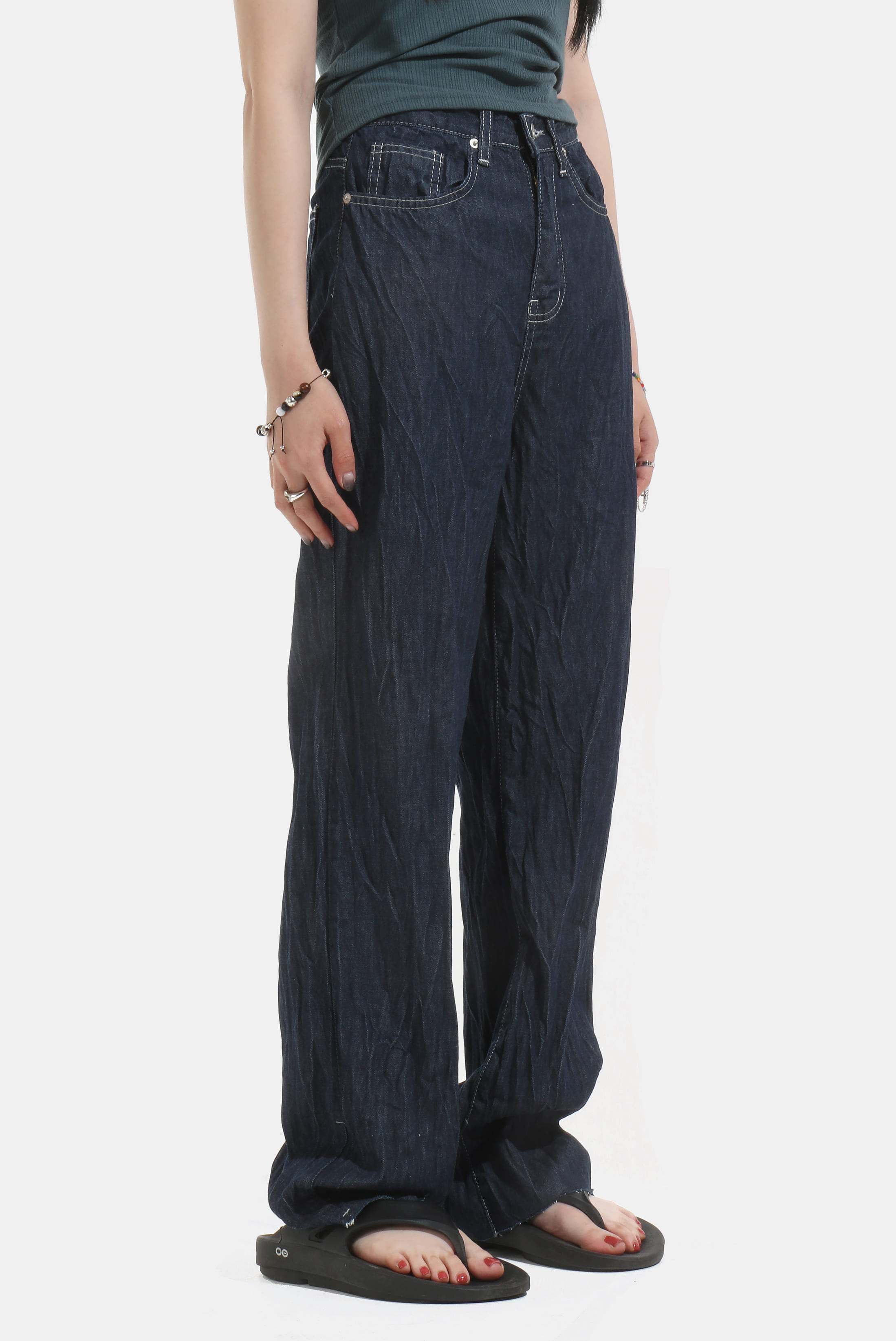 (W) Wrinkle_Denim Long Pants