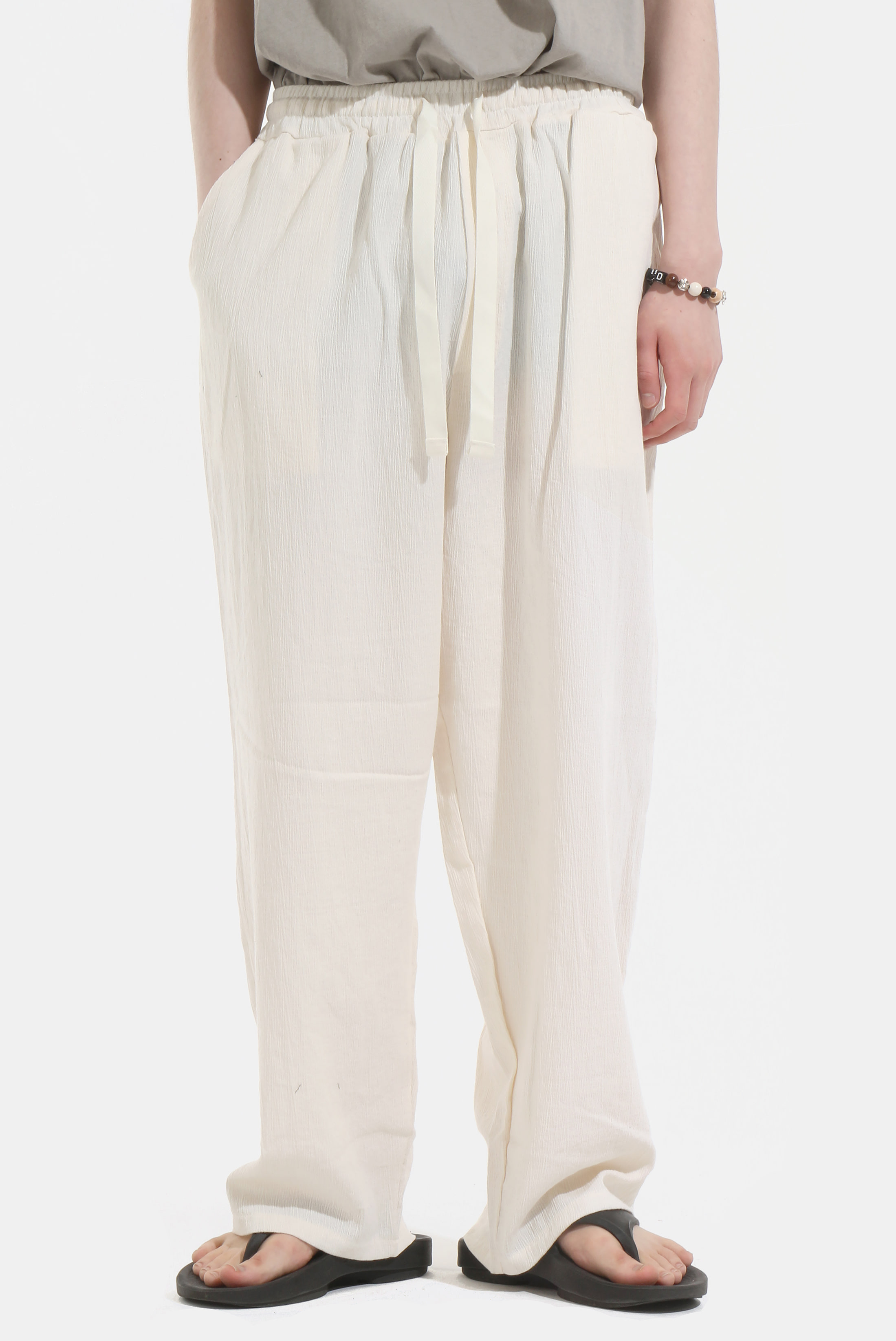 Wide_Linen Bending Pants