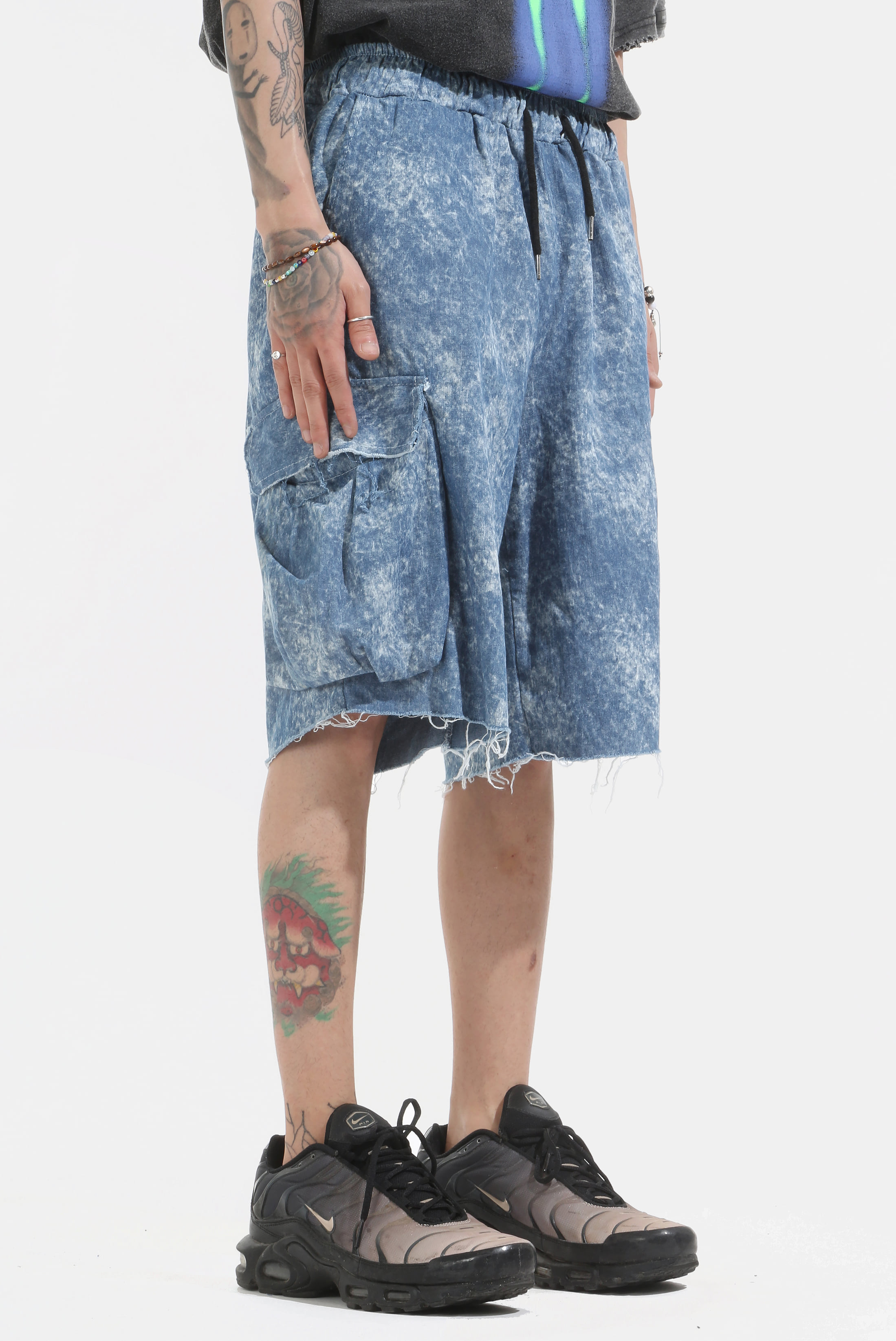 Blue Tye-Dye Demage Half_Pants