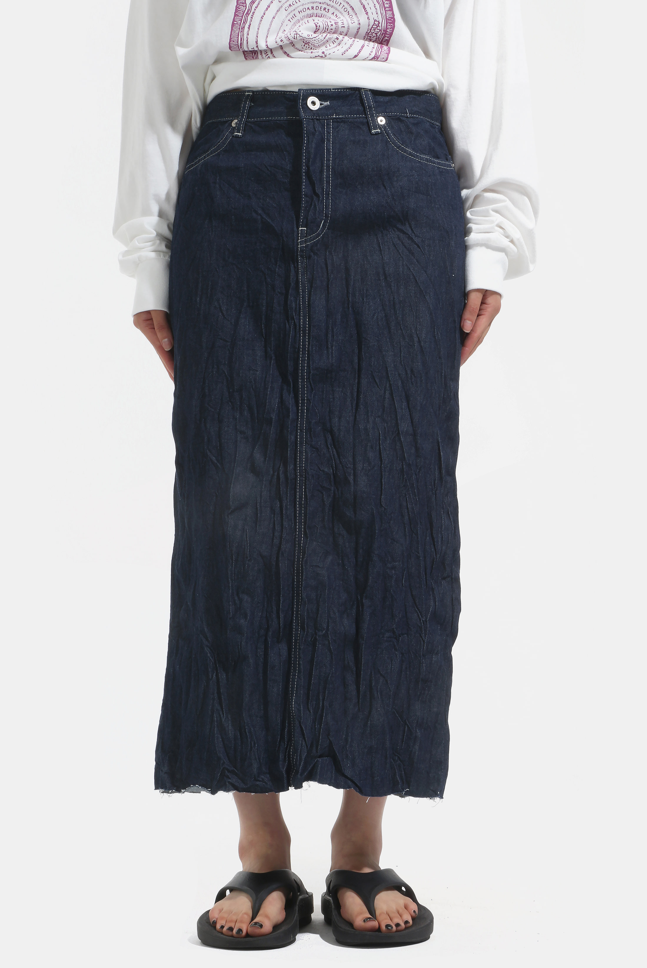(W) Wrinkle_Denim Skirt