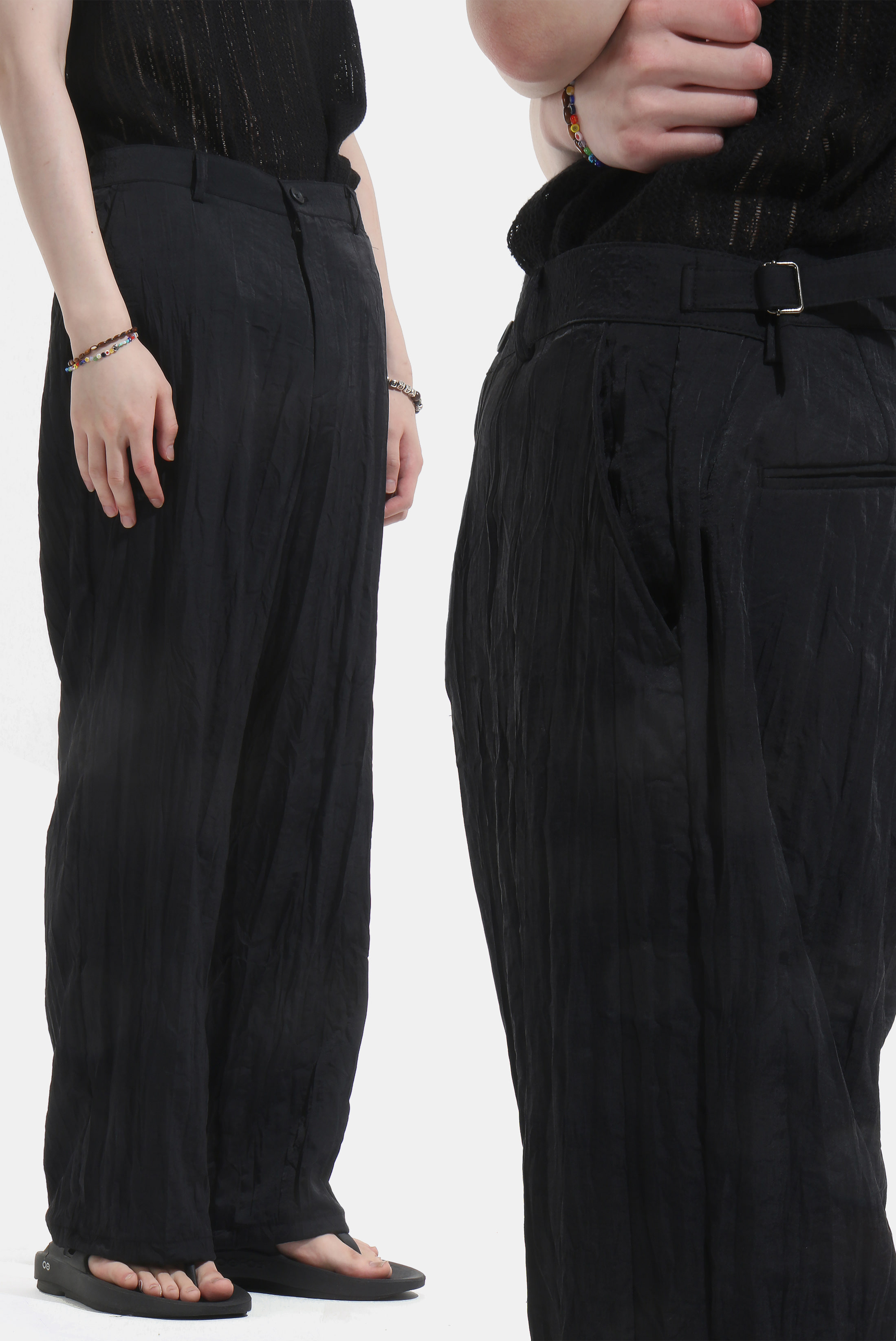 Wrinkle_Tab Nylon Slacks