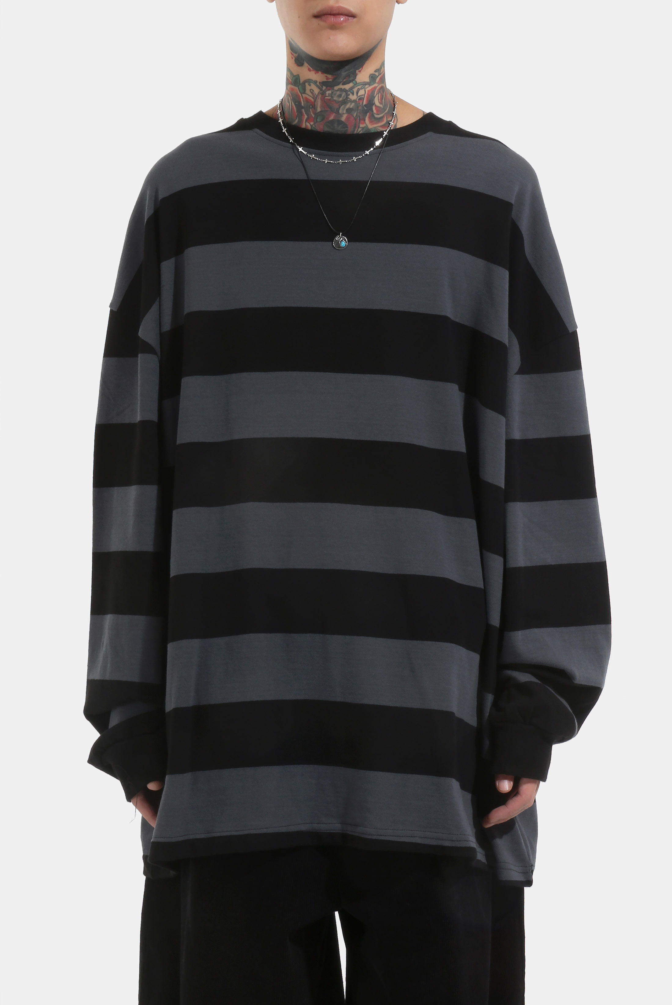 Wide_Stripe Over Sweatshirts