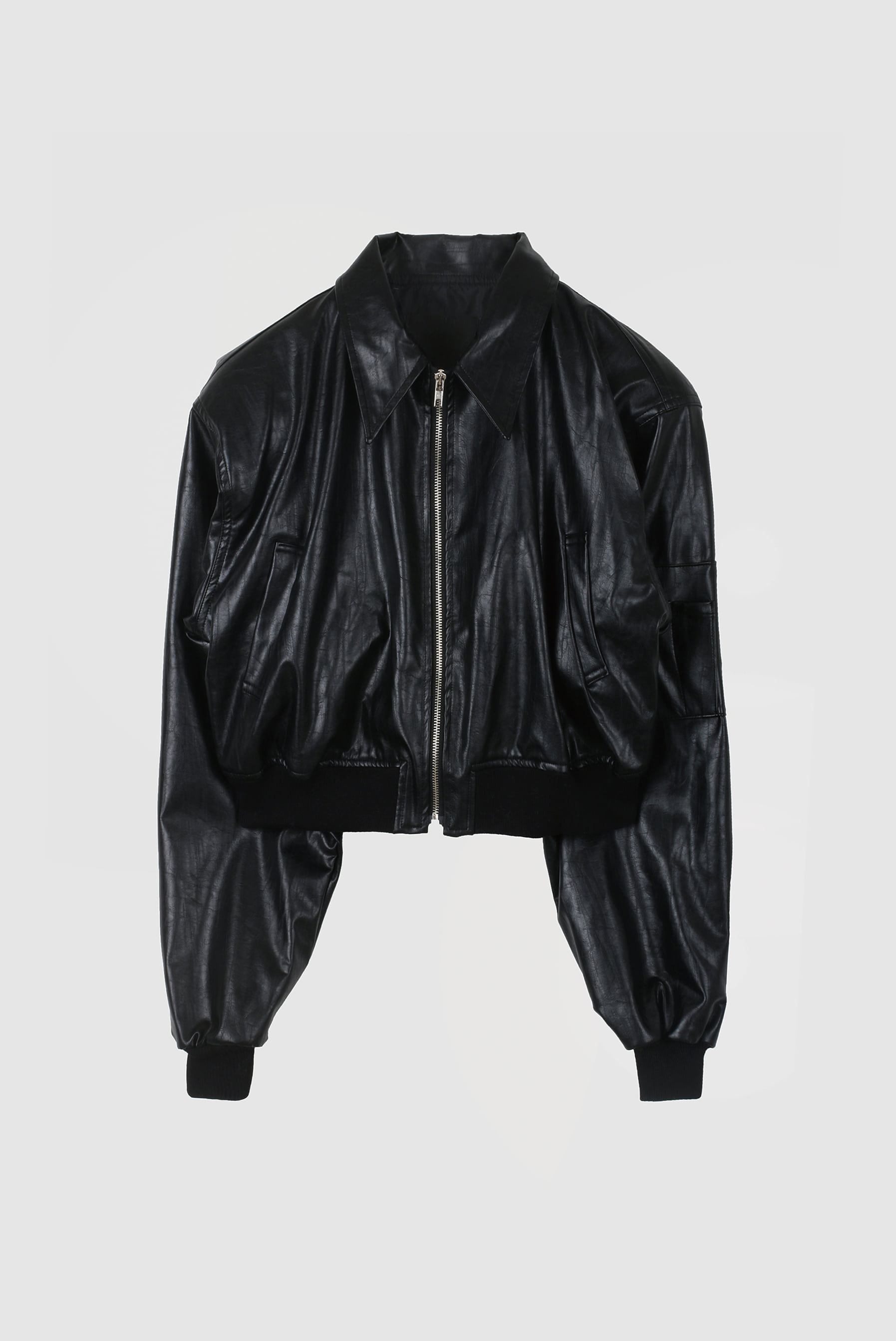Leather Crop MA-1 Jacket