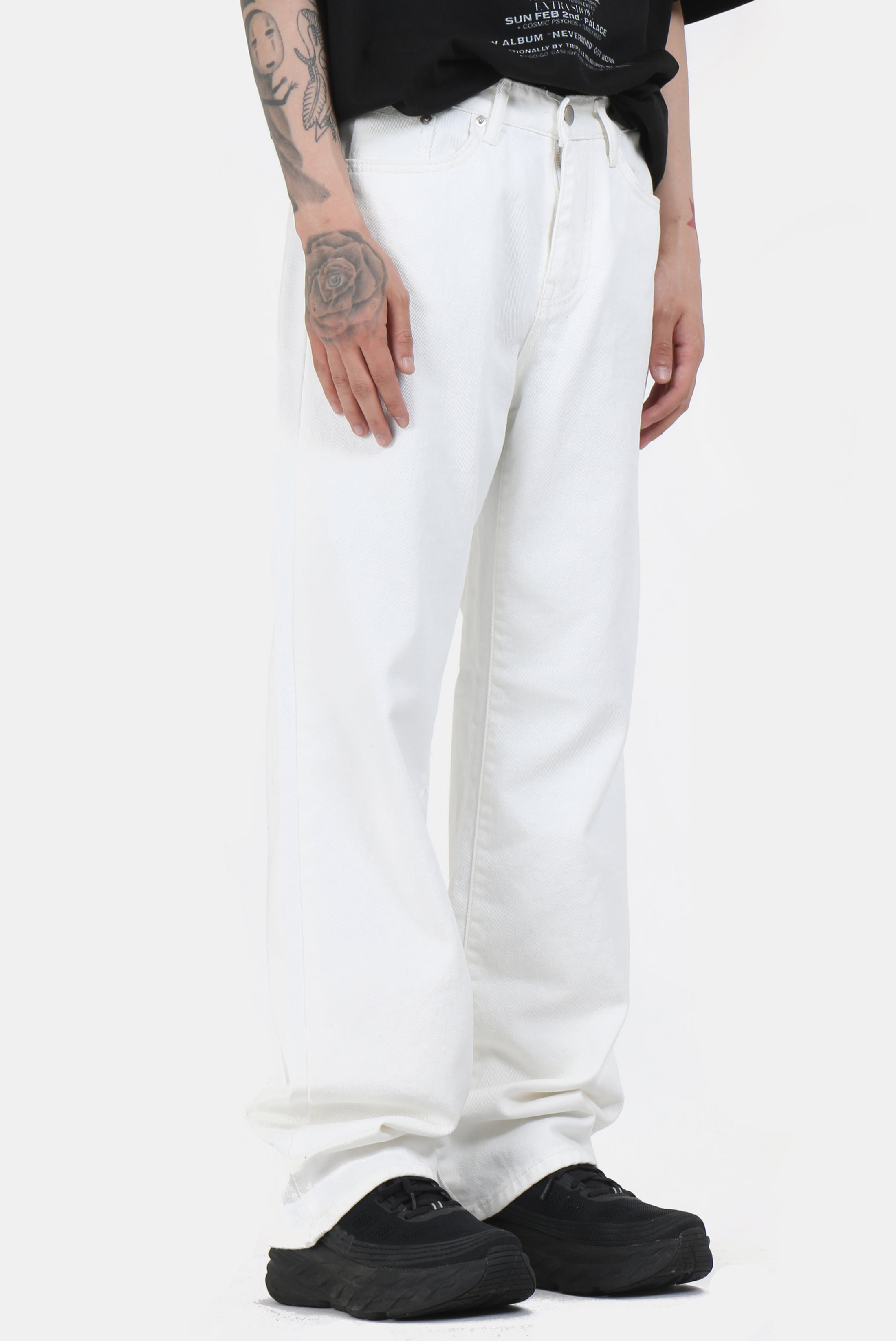 White_Denim Long_Wide Pants