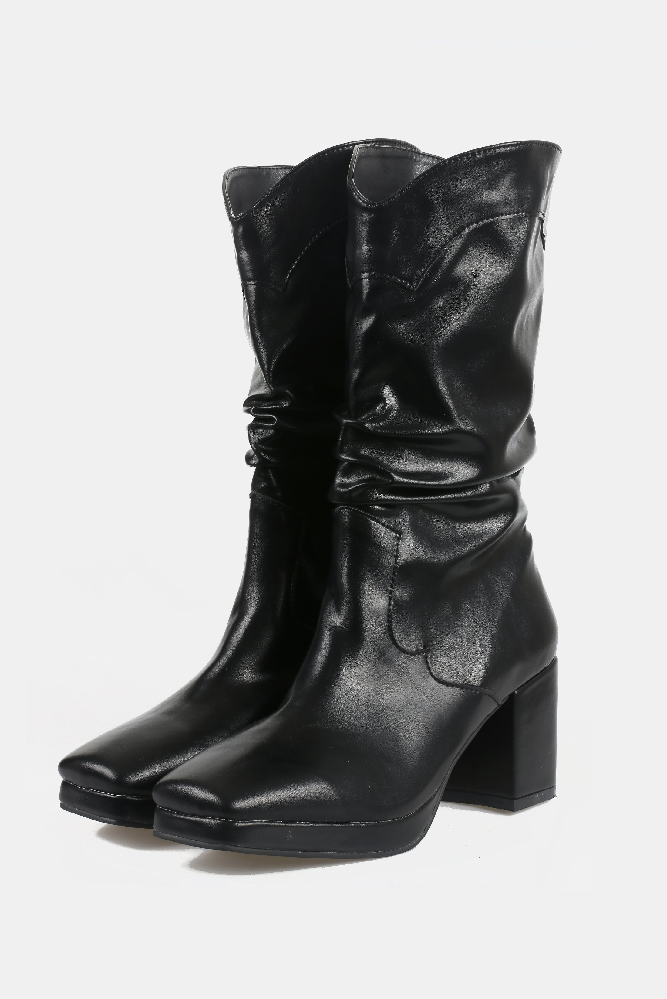 (W) Middle_Cut Wrinkle Boots
