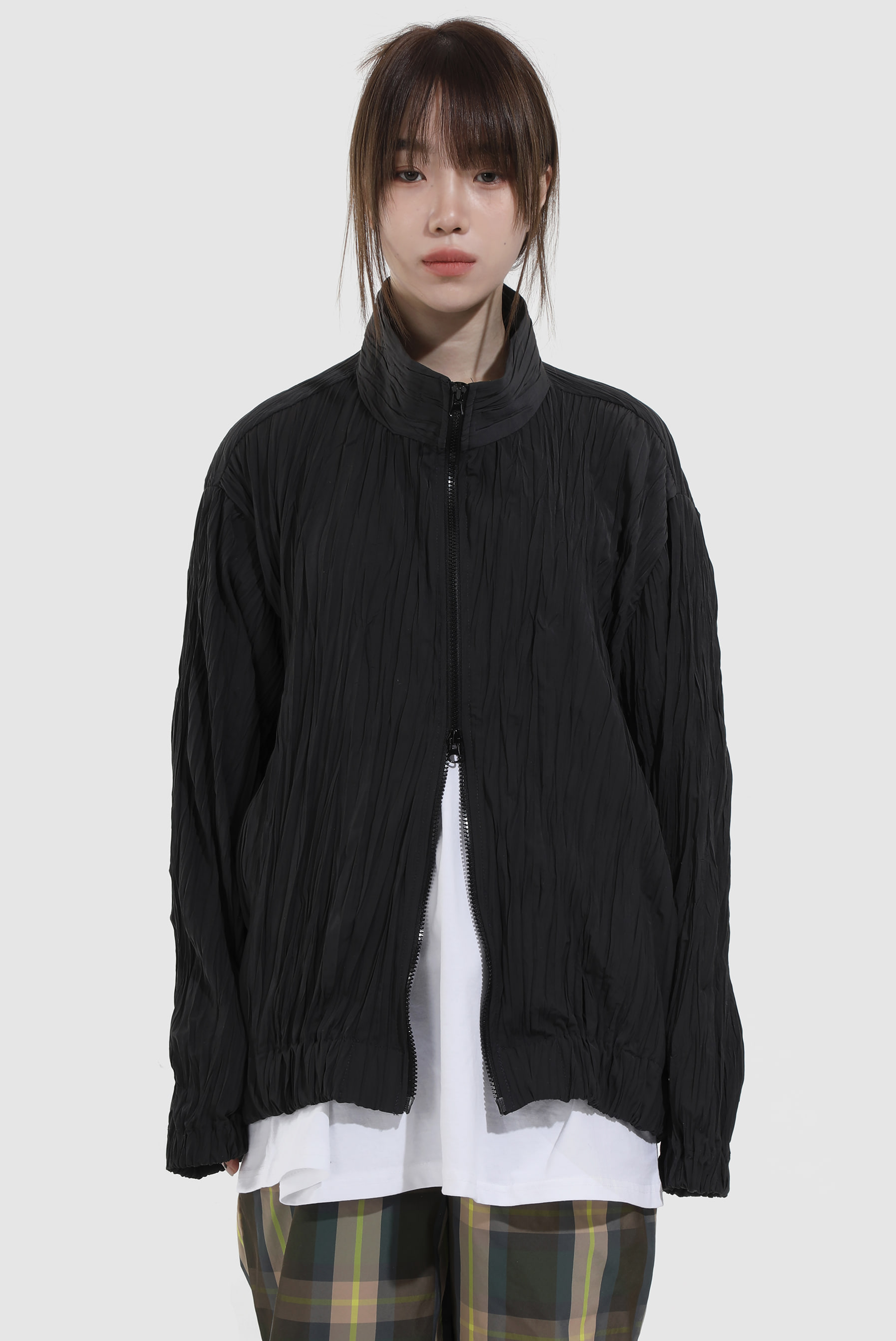 Wrinkle Two_Way Zip-up